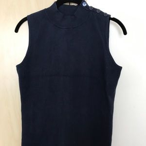 Navy mock neck tank with buttons Ann Taylor Sz M